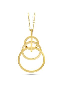 Halsketting in goudkleurig edelstaal, 3 cirkels en een staafje
