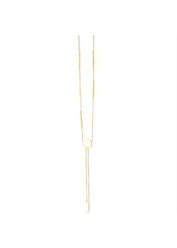 Halsketting in goudkleurig edelstaal met cirkel en 8 staafjes