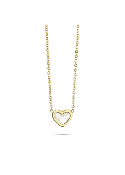 Gold-colored stainless steel necklace, heart in mother of pearl