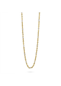 Collier en acier poli couleur or, petites boules en émail blanc