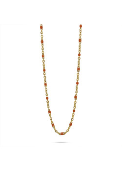 Gold-coloured stainless steel necklace, small orange enamel balls