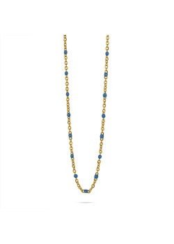 Gold-coloured stainless steel necklace, small blue enamel balls