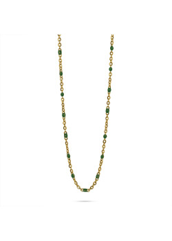 Gold-coloured stainless steel necklace, small green enamel balls