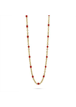 Gold-coloured stainless steel necklace, small red enamel balls