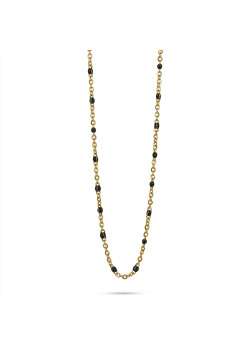 Gold-coloured stainless steel necklace, small black enamel balls