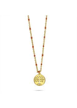 Halsketting in goudkleurig edelstaal, kleine oranje email bolletjes, levensboom