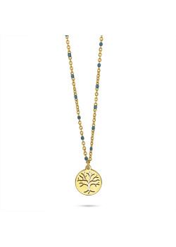 Gold-coloured stainless steel necklace, small blue enamel balls, tree of life