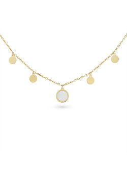Halsketting in goudkleurig edelstaal, 4 rondjes, 1 rondje parelmoer