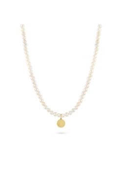 Halsketting in goudkleurig edelstaal, parelketting met gehamerd rondje