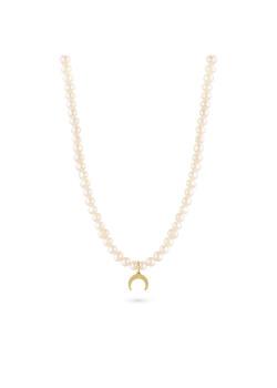 Halsketting in goudkleurig edelstaal, parels, gehamerde hoorn