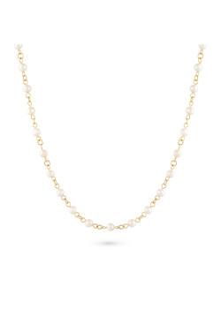 Halsketting in goudkleurig edelstaal, parels