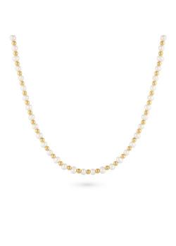 Halsketting in goudkleurig edelstaal, bolletjes en parels