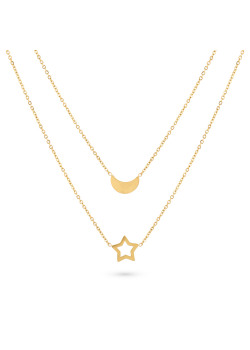 Gold-coloured stainless steel necklace, 2 chains, moon and star