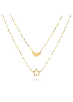 Halsketting in goudkleurig edelstaal, 2 kettingen, maan en ster