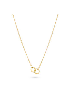 Gold-coloured stainless steel necklace, 2 open circles