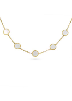 Gold-coloured stainless steel necklace, 5 rounds, mother of pearl