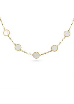 Halsketting in goudkleurig edelstaal, 5 rondjes, parelmoer