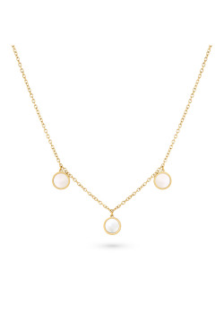 Gold-coloured stainless steel necklace, 3 rounds, mother of pearl