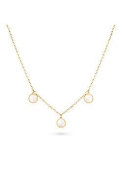 Halsketting in goudkleurig edelstaal, 3 rondes, parelmoer