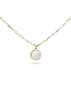 Gold-coloured stainless steel necklace, mother of pearl round, 10 mm
