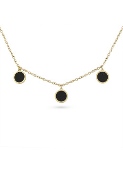 Gold-coloured stainless steel necklace, 3 black rounds