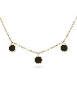 Halsketting in goudkleurig edelstaal, 3 zwarte rondjes