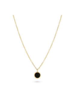 Gold-coloured stainless steel necklace, black round