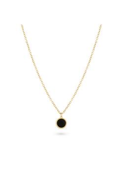 Halsketting in goudkleurig edelstaal, zwart rondje