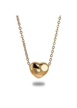 Halsketting in goudkleurig edelstaal, hartje