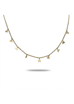 Halsketting in goudkleurig edelstaal, 9 hartjes