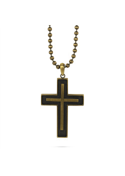 Copper-coloured stainless steel necklace, ball chain with cross