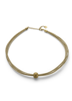 Gold-coloured stainless steel necklace, 8 cords, hammered ball