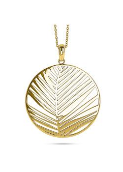 Halsketting in goudkleurig edelstaal, rond blad