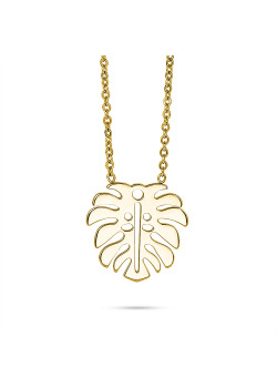 Gold-coloured stainless steel necklace, leaf