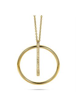 Halsketting in goudkleurig edelstaal, cirkel en staafje in kristal