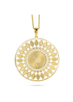 Gold-coloured stainless steel necklace, sun