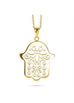 Halsketting in goudkleurig edelstaal, fatima handje