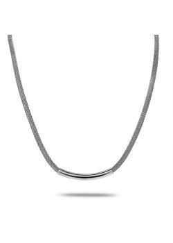 Halsketting in edelstaal, slangketting met buis