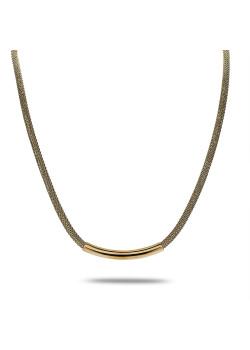 Halsketting in goudkleurig edelstaal, slangketting met buis