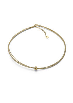 Gold-coloured stainless steel necklace, 3 cords, ball with crystals