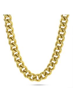 Halsketting in goudkleurig edelstaal, gehamerde schakelketting