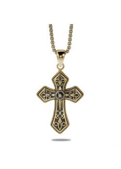 Halsketting in goudkleurig edelstaal, groot kruis, zwart
