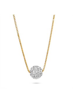 Long collier en plaqué or 18ct, boule incrusté de cristaux blancs
