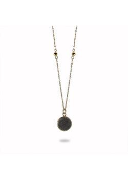 Halsketting in 18kt verguld zilver, grijze steen, bolletjes