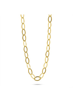 Halsketting in 18kt plaqué goud, oneffen schakelketting