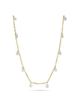 Halsketting in 18kt plaqué goud, 16 hangende kristallen