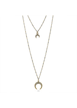18ct gold plated silver necklace, double chain, horns, zirconia