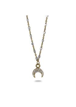 Halsketting in 18kt verguld zilver, kleine hoorn met kristallen, blokjesketting