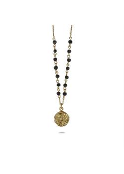 Halsketting in 18kt verguld zilver, medallion met zwarte steentjes