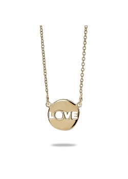 18ct gold plated silver necklace, round, love